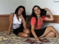 Twin sisters and their first porn episode video on StupidCams