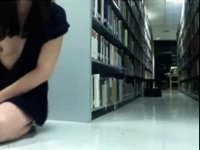 Public Library Nude Dildo Riding video on StupidCams