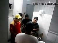 Crazy in the bathroom at the gas station video on StupidCams