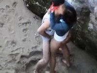 young couple fuck at the beach video on StupidCams