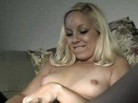 cute blonde fucks huge dildo video on StupidCams