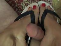 flip flop footjob shoejob video on StupidCams