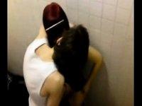Bathroom couple sex caught video on StupidCams