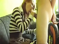 Young in stripes collant fucks on couch (Camaster) video on StupidCams
