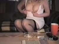 Wife in skimpy white costume pt2 video on StupidCams