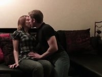 College students sex on couch creampie video on StupidCams