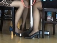 Candid Asians Hot Shoeplay Feet in Stockings at Airport video on StupidCams