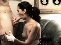 Sexy dark brown hair in latex fucked on ottoman video on StupidCams