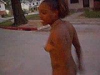 Slut streaking in her neighborhood video on StupidCams