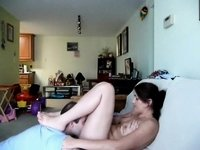 Oral fun and banging on the sofa video on StupidCams