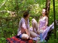 cute lesbians playing in the woods video on StupidCams
