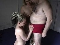 Mature (and obese) pair have a trio with youthful cutie video on StupidCams