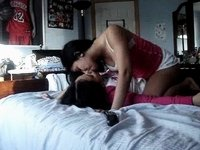 Lesbian asian teens play around at home 2 video on StupidCams