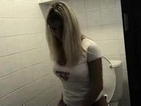 Cute golden-haired masturbates in the throne room video on StupidCams