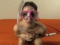 Diving Mask Snorkel VIbrator Masturbation video on StupidCams
