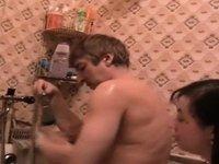 Chunky girl washing my hard tool video on StupidCams