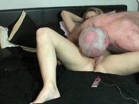 Old guy with weird fetish fucks with younger girl video on StupidCams