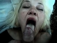 Ugly blonde wife swallows cum video on StupidCams