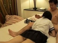 Barely legal Japanese playgirl is group-screwed by mature boyfrend video on StupidCams