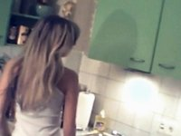 Shy girlfriend getting stripped in her mammas kitchen video on StupidCams