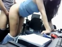 Wench American girlfriend banging with raunchy fuck partner at work video on StupidCams