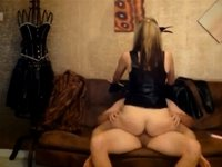 Jo rides Charlie in latex video on StupidCams