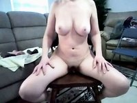 Wife with Delicious Breast Rides Massive Sex-Toy video on StupidCams