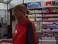 Gas Station worker gives guy head in the bathroom video on StupidCams