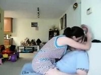 Hot Darksome Brown mother I'd like to fuck Rides Her Man-Ally On The Ottoman video on StupidCams