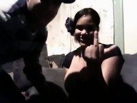 Shy large bumpers dark girlfriend engulfing video on StupidCams