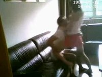 Fucking on the leather couch video on StupidCams