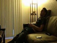 Deepthroating his jock with enjoyment video on StupidCams