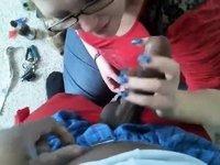 Chubby cutie bondman to his black 10-Pounder video on StupidCams