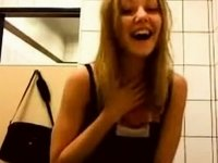 Blondie have some fun in fast food restroom! video on StupidCams