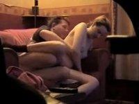 Voyeur episode of a white couple fucking on a sofa video on StupidCams