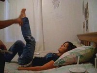 Babe in jeans gets probed video on StupidCams