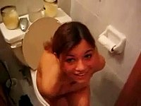 Busty teen piss in bathroom voyeur video on StupidCams