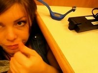 Hot teen gives blowjob in library video on StupidCams