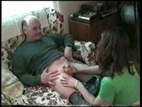 Hot brunette sucks older man video on StupidCams