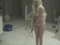 Maid on knees sucking rod video on StupidCams