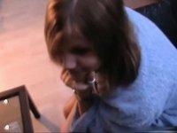 enchanting chick enjoys ebony ramrod on sofa video on StupidCams