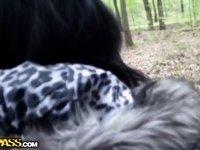 Nasty GF blows schlong outdoors till ball cream flow video on StupidCams