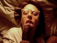 Darksome cock empty his balls all over her face & glasses video on StupidCams