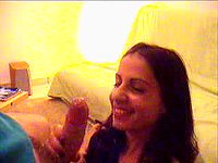 Jerk off in her mouth... she loves it! ... very pretty face video on StupidCams