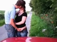 Slutty Couple Suck And Fuck On The Road Side video on StupidCams