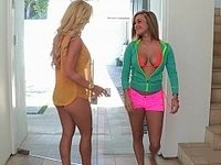 Naughty Kennedy and her step-mom in the pool video on StupidCams