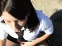 Schoolgirl Takes A Load Outdoors video on StupidCams