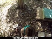 TeensLoveMoney - Busty Molly Jane Fucks Outside for Cash video on StupidCams