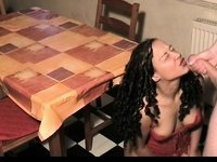 Quickie on the kitchen table video on StupidCams