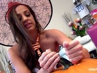 Abigail Mac's Halloween Solo Fun video on StupidCams